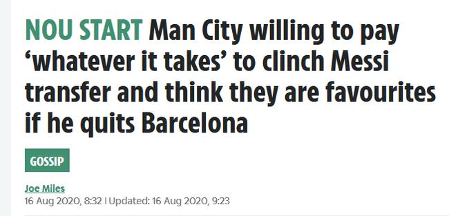 英媒称曼城今夏抢夺梅西 愿不惜一切代价挖人