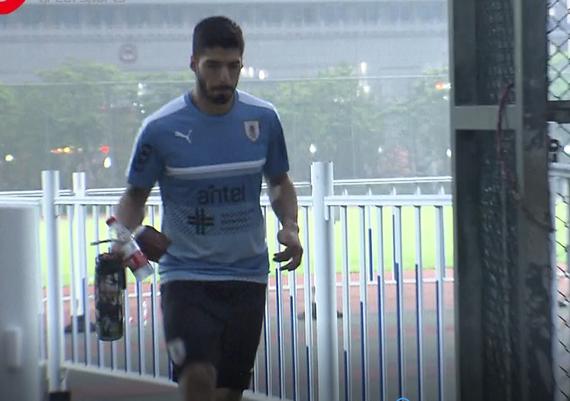 视频-乌拉圭封闭训练 苏亚雷斯人气旺