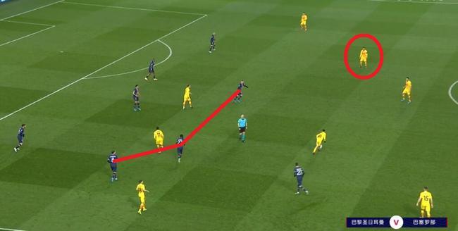 踢巴黎时,巴萨同样套路创造机会