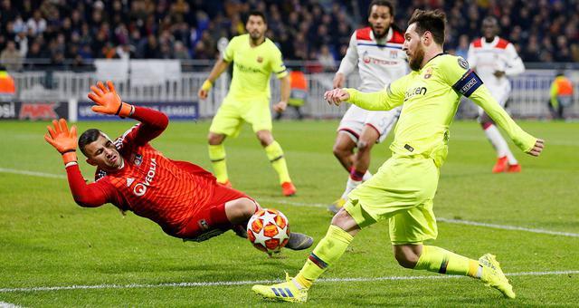 欧冠-梅西哑火 巴萨客场0-0平里昂