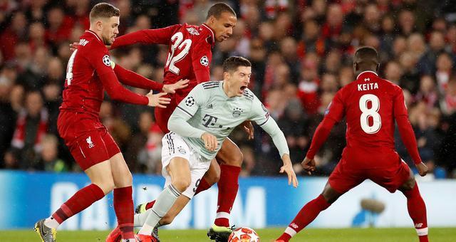 欧冠-莱万失良机 拜仁客场0-0利物浦