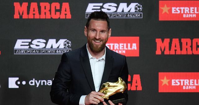 梅西正式领取第6座欧洲金靴奖