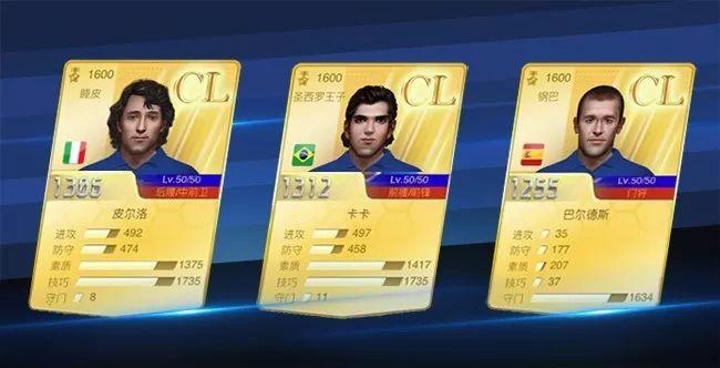 在新版本开启后,巴尔德斯,卡卡,皮尔洛将会晋升为CL球员。