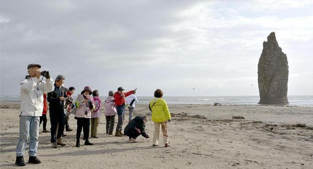 日本游客在库纳希尔岛(国后岛)观光旅游