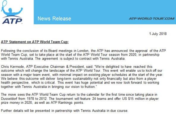 ATP将重启世界团体杯赛