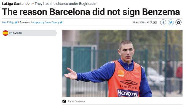 巴萨曾接近签下本泽马