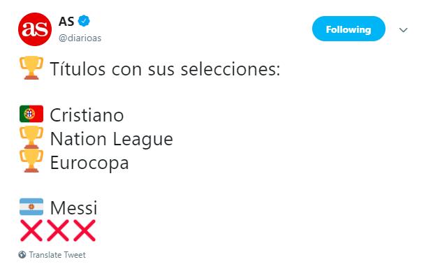 《阿斯报。》谈C罗和梅西的国家队冠军