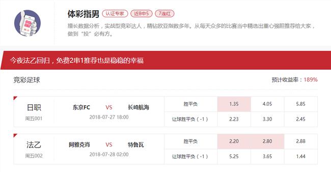 [新浪球通]体彩指男竞彩2串1推荐:东京vs长崎