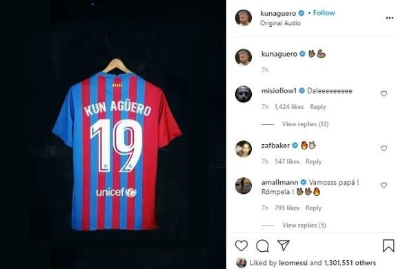 阿圭罗在巴萨的球衣号码披露  梅西为他点赞