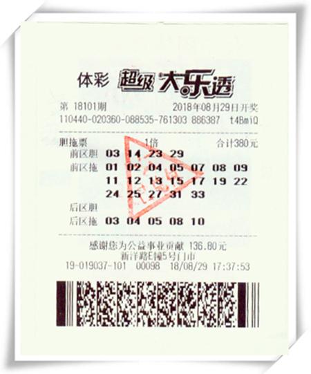 喝功夫茶生灵感 彩民复式胆拖揽大乐透661万