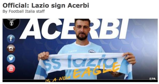 拉齐奥官方宣布签下前AC米兰中卫 1200万签约5年
