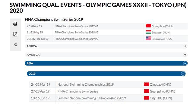 国际泳联公布首批奥运游泳资格赛