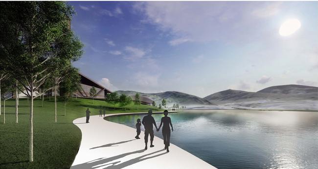 景观湖环湖步道效果图