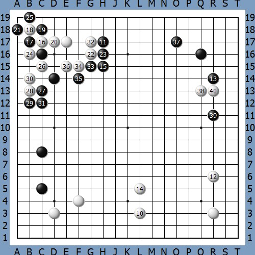 黑37时星阵推Q7,之后的进程如下图(黑盘面3.6目)(=处为3,11)