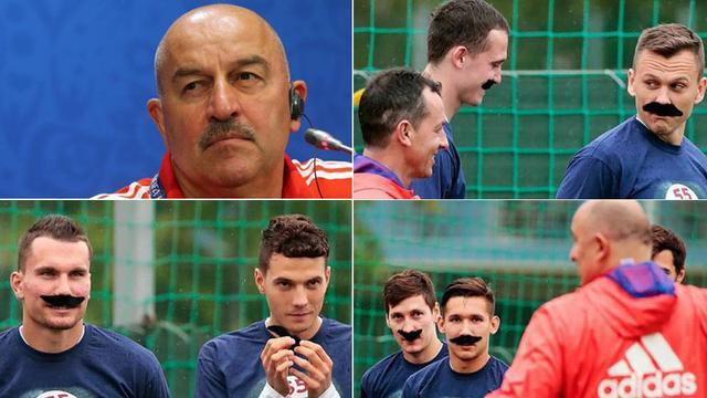 俄罗斯队员给主帅庆生出奇招:全队带小胡子训练