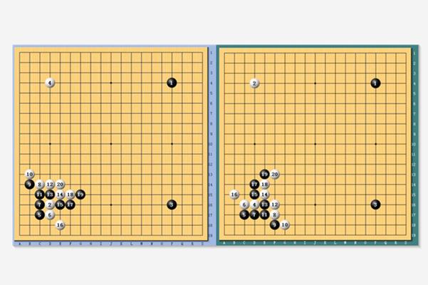 相似的开局(左为杨鼎新VS陶欣然,右为芈昱廷对阵童梦成)