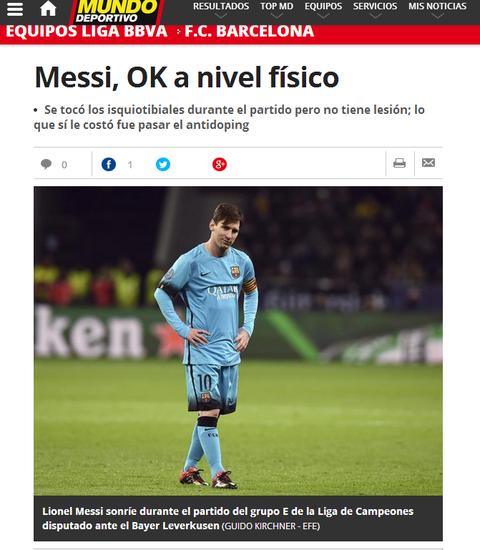 《全球体育报》以为梅西没事