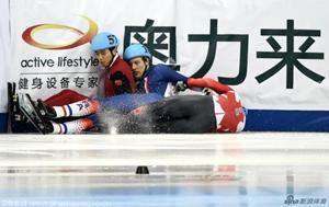 短道上海站摔倒不断:哈梅林重伤 女子千米乱套