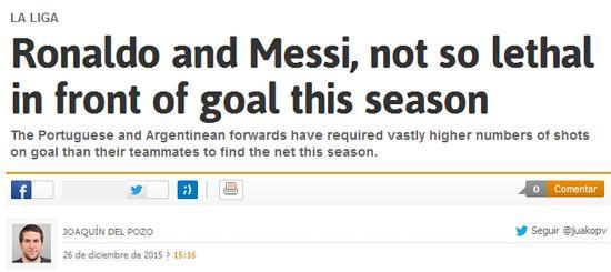 西班牙媒体也指出,C罗和梅西在门前不再那么犀利