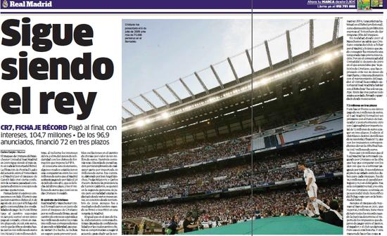 《马卡报》指出,C罗转会费超过了1亿欧元