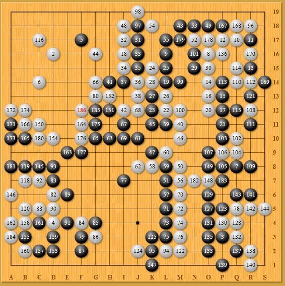 人机围棋大战第一局,李世石(黑) VS AlphaGo (白中盘胜)