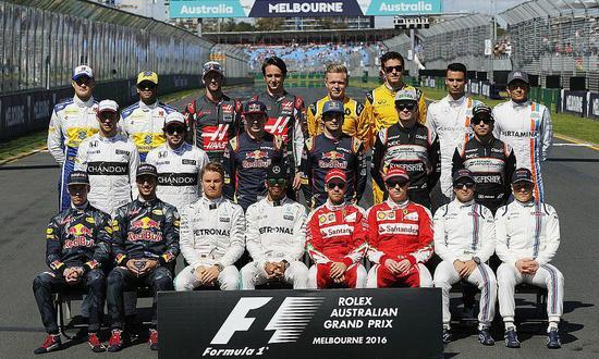 赛前:2016赛季F1车手合影
