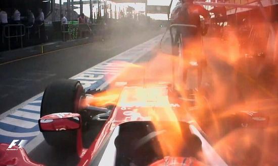 第23圈:莱科宁赛车故障着火退赛