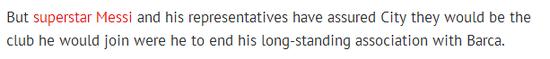 《镜报》称曼城取患了梅西团队的保障