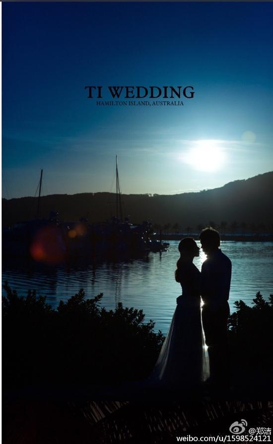 郑洁和张宇在澳洲拍的婚纱照