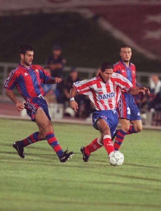 球员时期的西蒙尼、瓜迪奥拉和恩里克