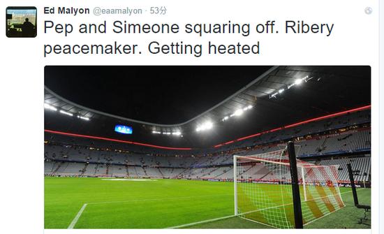 马里恩推特:西蒙尼同瓜迪奥拉发生争吵,里贝里一旁劝架