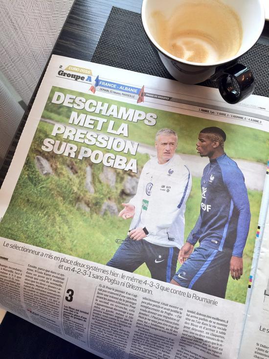 法国媒体称德尚将变阵,博格巴或被踢出首发阵容