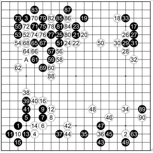 计算器谱子十年-本局是那盘著名的封盘的棋.左下互尖,是又一个古代流行定式,丈和