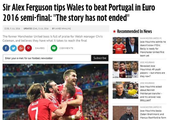 弗格森:威尔士击败葡萄牙进决赛