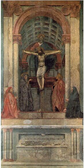 马萨乔名画《圣三位一体》