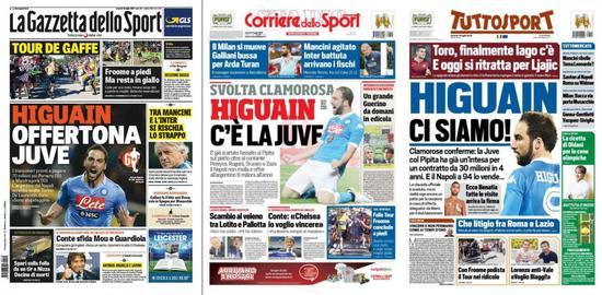 意大利三大体育报头条都是伊瓜因
