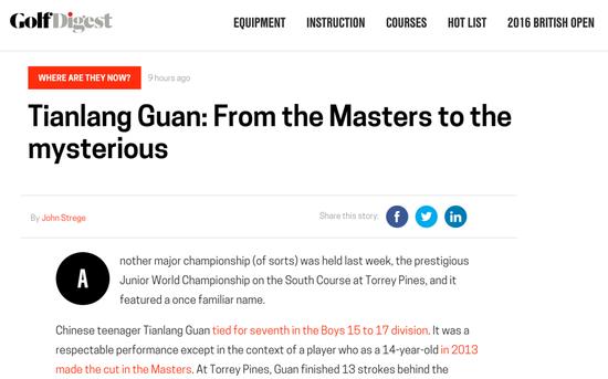 Golf Digest网站报道截屏