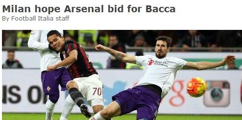 AC米兰指望阿森纳报价采办巴卡