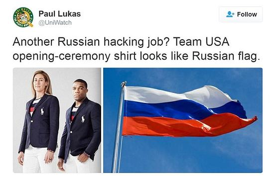 美国网友吐槽披上俄罗斯国旗