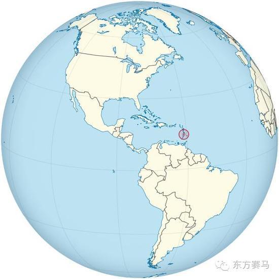 圣卢西亚位置,红圈处