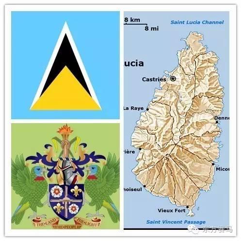 圣卢西亚国旗、国徽、地图