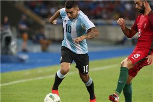 奥运男足-科雷亚卡莱里进球 10人阿根廷2-1首胜