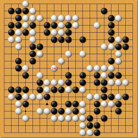 王泽锦白146败着。朴正祥说:白146应在黑▲处打吃一手。实战被黑棋团一手后,官子损5目以上。