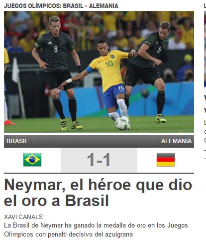 《每日体育报》:内马尔,巴西的国家英雄!