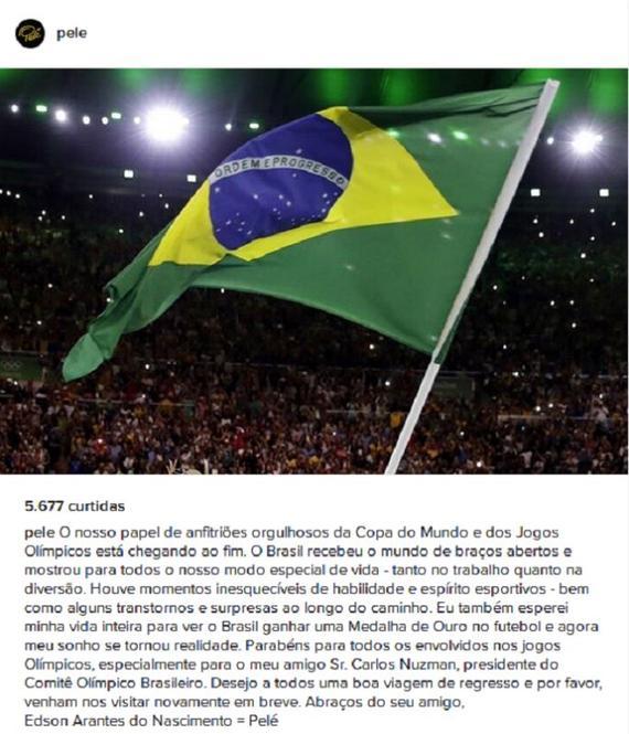 贝利用推文向里约奥运会告别 他这一次又失约了