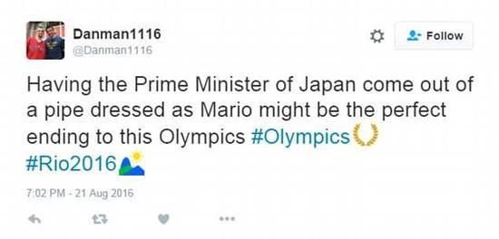 有这样一个打扮成超级马里奥的首相出现在闭幕式上也许是这届奥运会最完美的结局。