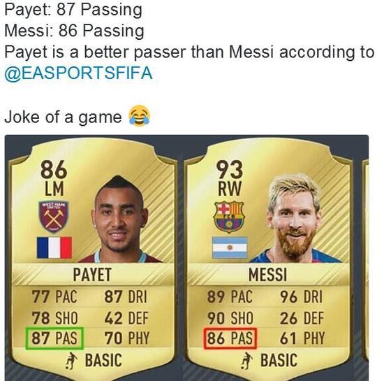 帕耶的传球数值比梅西高