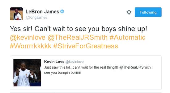 詹姆斯转发了勒夫的推特