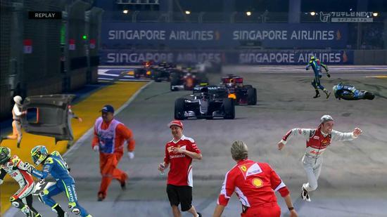 网友恶搞马修横穿赛道,Kimi不幸躺枪