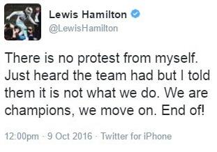 汉密尔顿第二条推:我没上诉,车队上诉了,我让他们撤了。